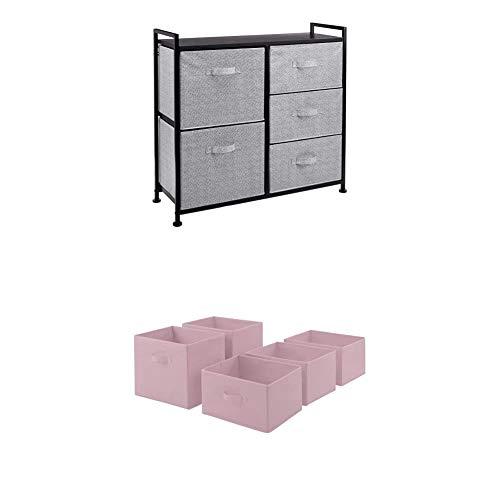 Amazon Basics Unidad de Almacenamiento, de Tela, con 5 cajones, para Armario, Negro + Cajones de Repuesto para Unidad de Almacenamiento de Tela con 5 cajones, Rosa Claro
