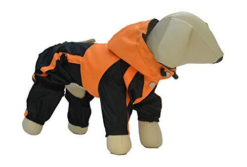 lovelonglong Hunde Regenmantel mit Hoodie, Atmungsaktive Regenjacke mit Vier Beinen im Freien Einstellbare wasserdichte Regenjacke für Kleine, Mittel, Große Hunde Orange XS