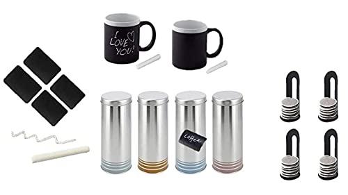 James Premium Tasse mit Henkel 2er Set 300ml NEU MIT Kreide BESCHRIFTBAR + 4 Paddosen mit Kreide beschriftbar