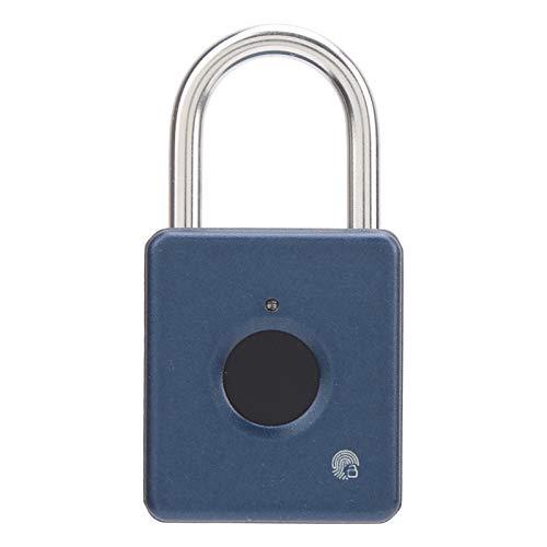 Lucchetti intelligenti, blocco delle impronte digitali Lucchetto a basso consumo energetico Nessuna password per dormitorio per armadietto per magazzino(blu)