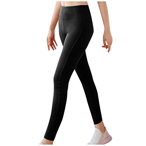 SPORTTIN High Waisted Yoga Pants Bootcut Solid Color, Womens Butt Lift Leggings Tummy Control Stretchy Home Pants Lounge(Black,S)