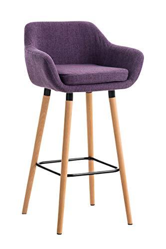 Tabouret de Bar Grant Tissu Design Scandinave I Tabouret de Bar Industriel avec Dossier et Accoudoirs I Chaise de Bar Confortable Ergonomiqu, Couleurs:Violet