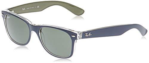 Ray-Ban RB2132 New Wayfarer Sunglasses, Matte Blue on Military Green/Green, 52 mm