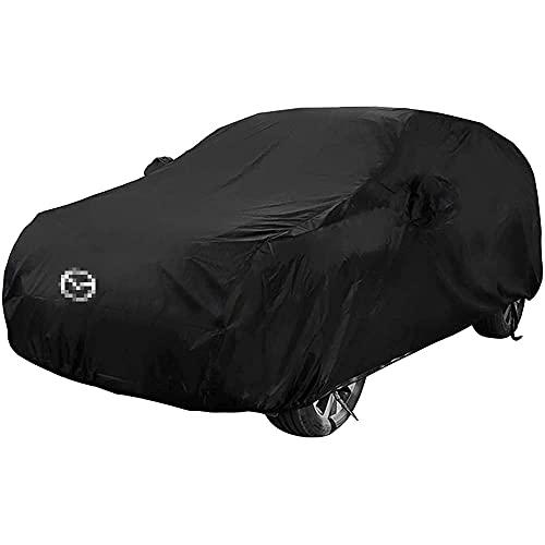 YMYGCC Cubierta del Coche con el Logo del Coche para Mazda CX-5 SUV, Anti-UV Transpirable Resistente al Viento, Cubierta para Coche Exterior, Garaje Coche Exterior