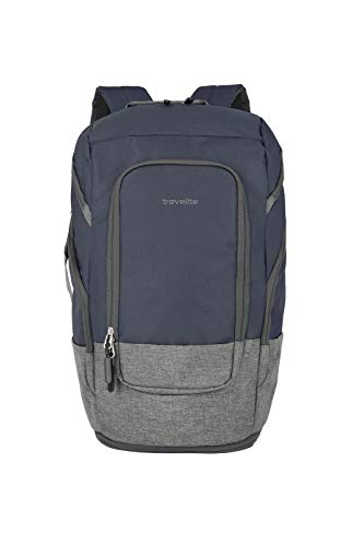 travelite großer Handgepäck Rucksack für Reise, Freizeit und Sport, Gepäck Serie BASICS Daypack: Kompakter travelite Rucksack, 096291-20, 48 cm, 30 Liter, marine/grau
