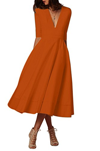 YMING Damen Stretch Kleid Freizeitkleider Halber Ärmel Partykleider Tief V Ausschnitt Formalkleid Orange L DE 40 42
