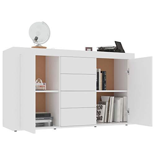 GOTOTOP Credenza in truciolato con 2 ante e 4 cassetti, armadio ausiliario moderno per corridoio, soggiorno, camera da letto, 120 x 36 x 69 cm, bianco