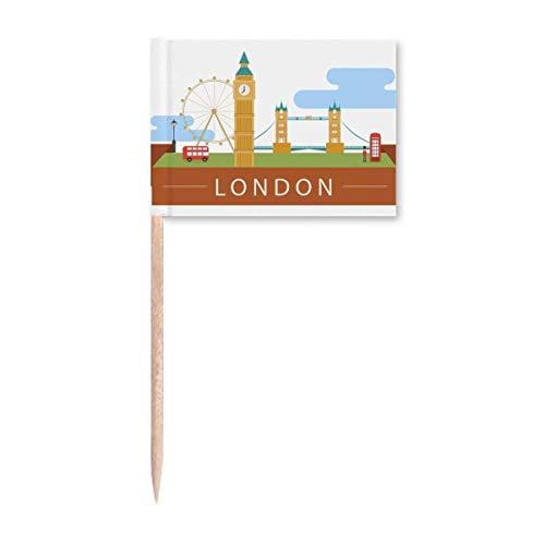 London Bridge UK Big Ben The London Eye Zahnstocher Flaggen Marker Topper Party Dekoration