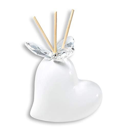 Albalù Bomboniere Profumatore Matrimonio Ceramica di Capodimonte Cuore Bianco (Scatola e Boccettina Profumo Inclusi)
