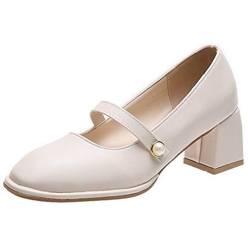 Zapatos elegantes para mujer, con punta redonda, cómodos, Mary Jane, elegantes, tacón cuadrado, para mujer, formales, para oficina, beige, 38.5 EU
