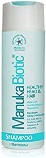 Manuka Biotic - Natural Antibacterial, Antifungal Shampoo formula with Certified Organic Manuka Oil. Reduces Dandruff, and Bacteria on the Itchy, Irritated and Inflamed Scalps for Men, Women, and Babies (250ml)