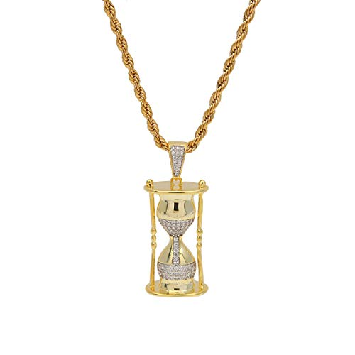 Unisex Iced-Out Ketting Hip Hop Jewelry vergulde cz Time Zandloper hanger ketting ketting,Gold