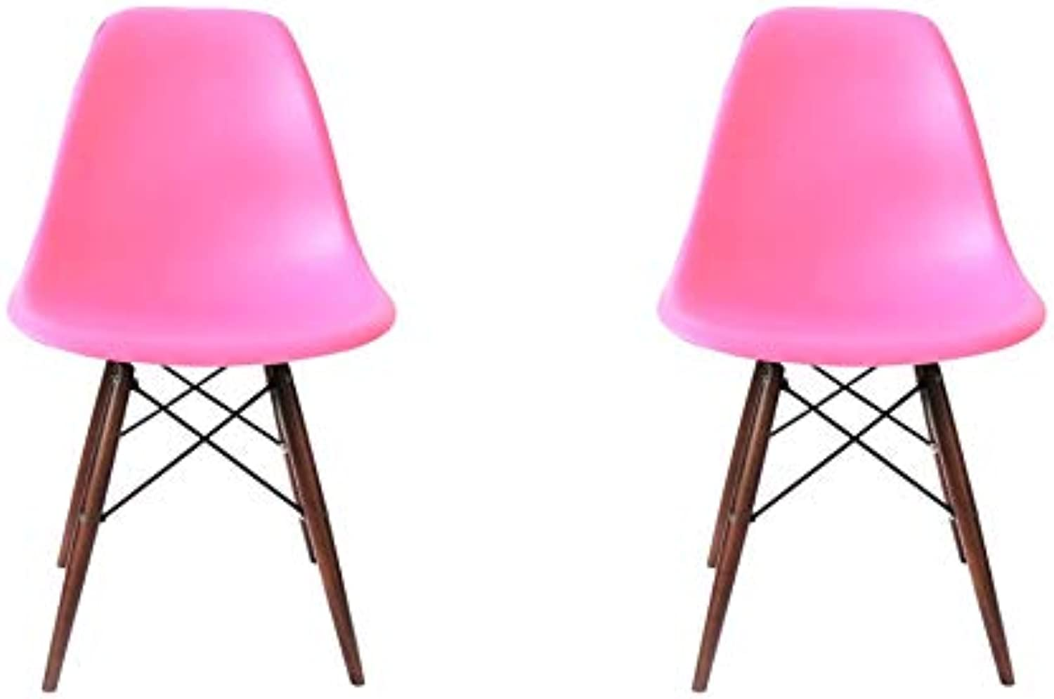 silver Import Eames Style Side Chair Natural Wood Legs Eiffel Dining Room Chair in Pink Set 2