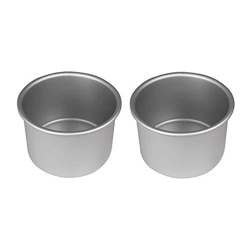 PME Lot de 2 moules de cuisson ronds en aluminium anodisé de 7,6 cm de large x 7,6 cm de profondeur (lot de 2) - 7,6 cm de large et 7,6 cm de profondeur