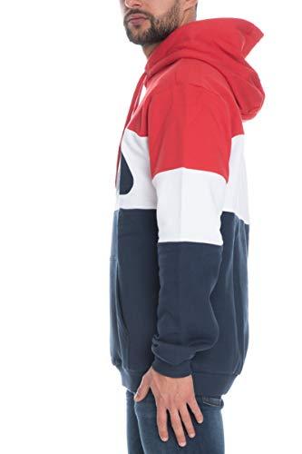 Fila Sweater Herren Night Blocked Hoody 687001 Mehrfarbig G06 Black Iris True Red, Größe:XL