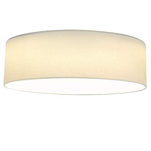 Navaris LED Deckenleuchte rund mit Stoffbezug - 22 Watt 970 Lumen - 41,5x41,2x14,5cm - Design Stoff Deckenlampe Weiß mit Montagematerial - warmweiß