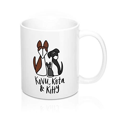 Keepsake Haustier-Kaffeetasse Katze Hund Tier Illustration 325 ml Stabfigur Minimalistisches Haustier Andenken Gedenken Trauer Haustier Verlust