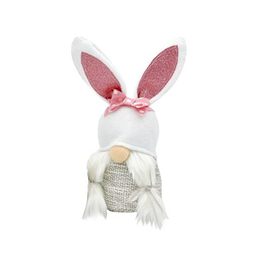 Moent Easter Gnome Bunny Faceless Doll,Spring Handmade Plush Dwarf Desktop Ornaments Rabbit Children Present,Festival Home Decoration Supplies (WhiteB, 1PC)