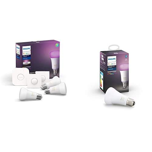 Philips Hue White and Color Ambiance Pack de 4 bombillas LED inteligentes E27, puente de conexión y 2 Smart Buttons, compatible con Bluetooth y Zigbee, funciona con Alexa y Google Home