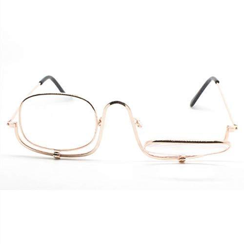 ZZAI Gafas de Maquillaje Lente de Lectura de Lentes de Lentes/Maquillaje Envejecido Lupa Auxiliar - Dioptrista Desde +1.0 a +3.5 Gold- + 2.0 (Color : Gold, Size : +3.5)