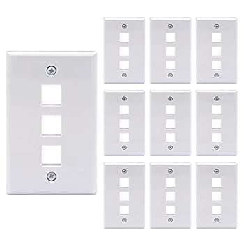 VCE 10 Pack 3-Port Keystone Wall Plate for Keystone Jack and Modular Inserts- White UL Listed