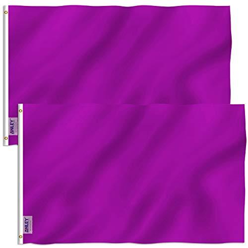 ANLEY Pack van 2 Fly Breeze 3x5 voet (90x150 cm) effen paarse vlag - levendige kleuren en UV-lichtbestendig - canvas koptekst en dubbel gestikt - effen paarse vlaggen polyester met messing oogjes 3 x 5 ft