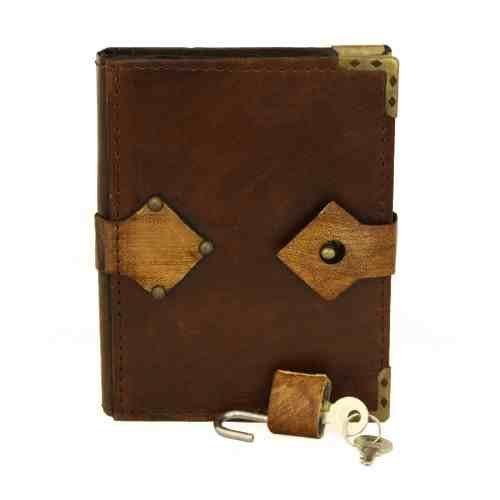 Handgemaakte echt leer navulbaar tijdschrift bruin dagboek notitieboek schetsboek hangslot Large BRON
