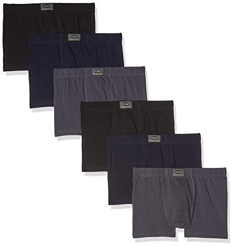 Poligono Calzoncillos Hombre, Ropa Interior Masculina Cómoda y Elástica,Boxer de Algodón, Paquete de 6, 2 Negros, 2 Azules, 2 Grises