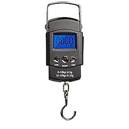 Tuimiyisou Pêche Balances Électroniques Crochet De Suspension Numérique Écran LCD Rétroéclairé avec Mesure Piles AAA…
