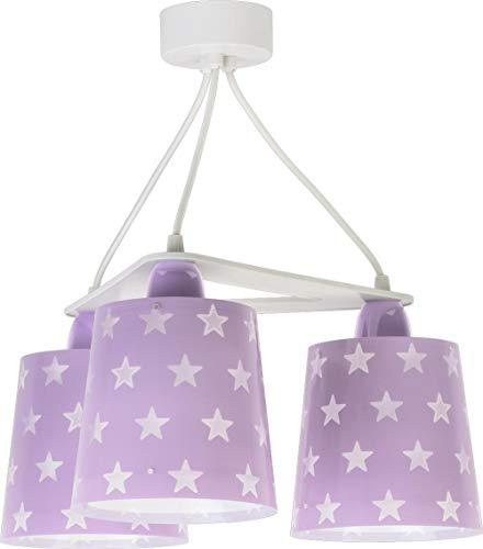 Dalber Lámpara Infantil de Techo Colgante 3 Luces Estrellas Stars Malva Lila, 60 W