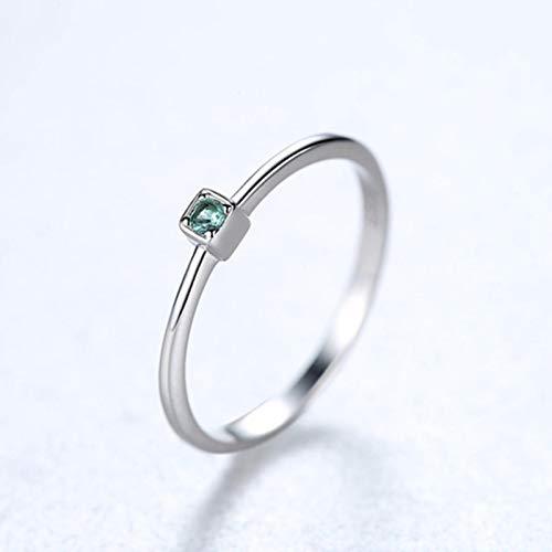 LuckyOne Anillos de boda de plata de ley 925 genuina VVS con topacio verde para mujer, minimalista, anillo de gemas de círculo fino, tallado, S925, 9, verde