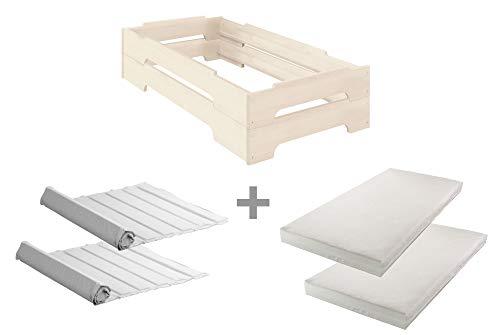 Bio-Kinder Juego Completo: 2 Camas apilables Kai 70x140 con Enrejado y colchón, Farbe:Weiß (Möbel)