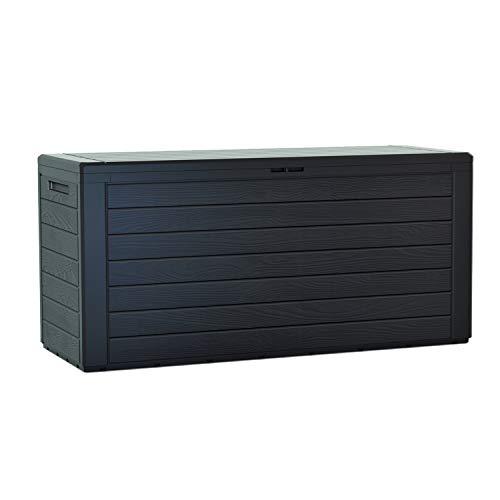 Prosperplast Woodebox Gartenbox Kissenbox Gartentruhe Verschließbar (280 Liter, Anthrazit)