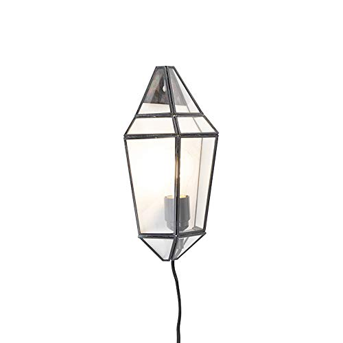 QAZQA Art Deco Applique Murale Art Déco noir avec verre clair - Scone/Métal Transparent,Noir Rectangulaire E27 Max. 1 x 40 Watt/Luminaire/Lumiere/Éclairage/intérieur/Salon/Cuisine