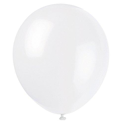 Unique Party- Globos de Fiesta de Látex, Paquete de 72, Color blanco, 12 cm (52365)