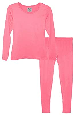 9M Women's Ultra-Soft Fleece Lined Thermal Base Layer Top & Bottom Underwear Set, Pink, Large by