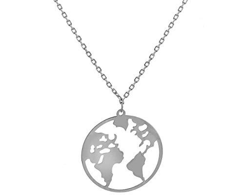 **Beforya Paris** - wereldkaart - halsketting - zilver 925 mooie dames halsketting - prachtige halsketting met geschenkdoos PIN/75