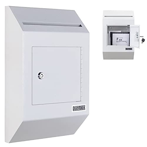 Durabox Heavy Duty Wall Mount Locking Deposit Drop Box Safe W300 (Gray) For Receiving Letters, Checks, Payment, Documents and More For Commercial, Home or Office Use