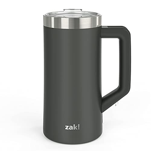 Zak Designs Creston Vacuum Insulated Stainless Steel Stein Mug with Press-In Lid and Splash-Proof Design, Includes Built-In Bottle Opener, Perfect for Indoor/Outdoor Activity (25oz, Charcoal, Non BPA)