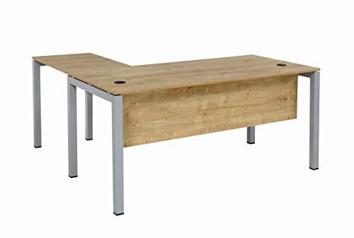 Furni24 Schreibtisch Tetra 180 cm Eiche Winkelschreibtisch Homeoffice Seminartisch Anbautisch rechts o. links montierbar