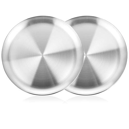 WEZVIX Pizza Pan Set of 2, 12 Inch Stainless Steel Pizza Tray for Oven Baking, Pizza Crisper Pan Bakeware Round for Home Kitchen, Restaurant, Dishwasher Safe & Heavy Duty
