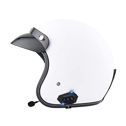 Smilfree Casco Media Carcasa Bluetooth con Casco Retro Jet Dot/ECE con Visera Solar Medio Casco Casco Cruiser Scooter Crash 3/4 Casco Motocicleta para Hombres Y Mujeres S = (55~56cm)