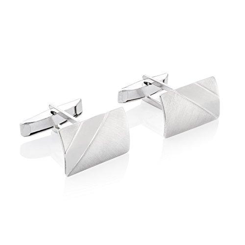 STERLL Herren Silber-Manschettenknöpfe Silber 925 Gebürstet mit Glänzenden Streifen Schmucketui Liebes Geschenke für Männer