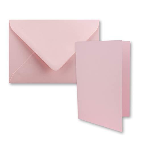 25x DIN B6 Faltkarten Set mit Umschlägen in Rosa - 120 x 170 mm - ideal für Einladungskarten, Hochzeit, Taufe, Kommunion, Konfirmation - Marke: FarbenFroh®