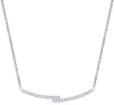 Diamond Double Bar Year-end gift Nashville-Davidson Mall Necklace Pendant 1.1mm