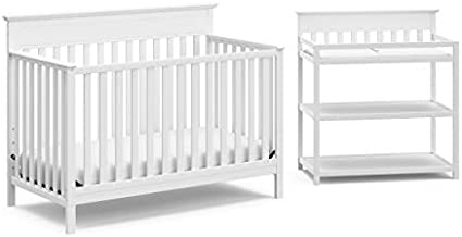 Storkcraft Windward 2 Piece Nursery in a Box, JPMA Certified Complete Nursery Solution with Convertible Crib and Infant Changing Table, White