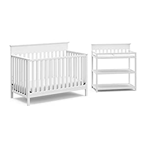 Storkcraft Windward 2-Piece Nursery-in-a-Box (White) – JPMA Certified, Complete Nursery Solution with Convertible Crib and Infant Changing Table