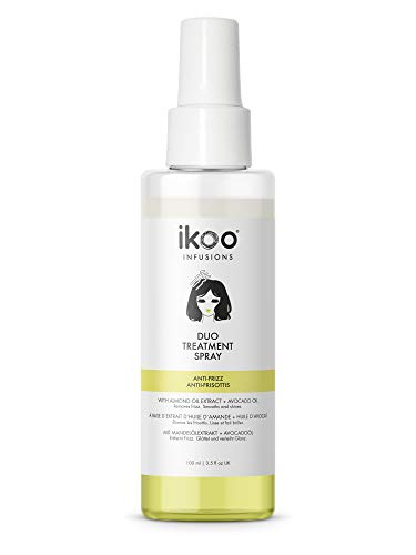 ikoo infusions Duo Treatment Spray – Haarkur Anti-Frizz, Haaröl für trockenes & krauses Haar, Haarpflege ohne Ausspülen, Haarmaske, Feuchtigkeit, Ohne Silikone, Mandel Öl, Avocadoöl, Vegan - 100 ml