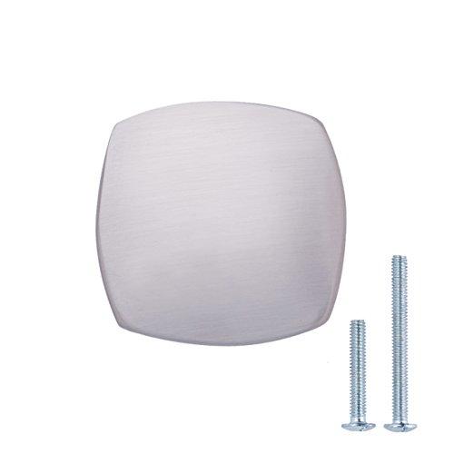 Amazon Basics - Pomolo quadrato arrotondato per mobili, Diametro: 3,2 cm, Nichel satinato, Confezione da 10