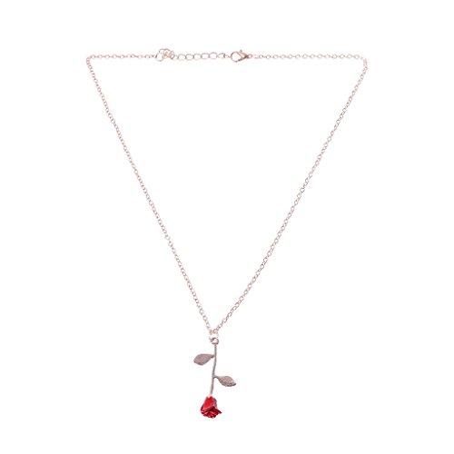 VIccoo Bella y Bestia Dorada Llena 3D Red Rose Colgante Collares para joyería de Las Mujeres - Rosa Dorada